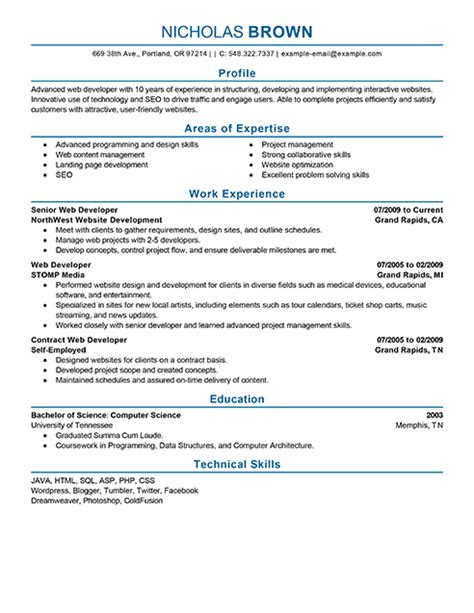 Developer Resumes Exles by Best It Web Developer Resume Exle Livecareer