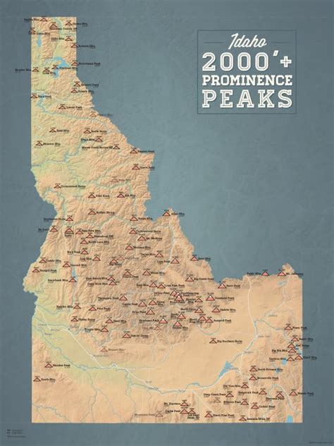 idaho  prominence peaks map  poster  maps