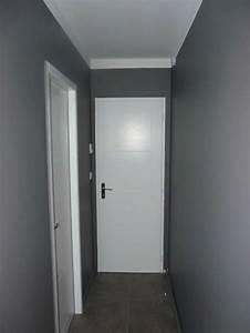 Peinture Blanc Gris : charmant peinture porte couloir et dacoration couloir long et a troit inspirations photo ~ Nature-et-papiers.com Idées de Décoration