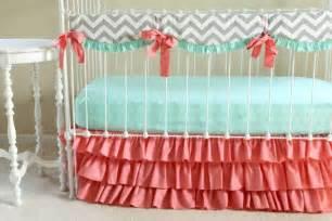 bumperless mint coral chevron crib bedding by lottiedababy
