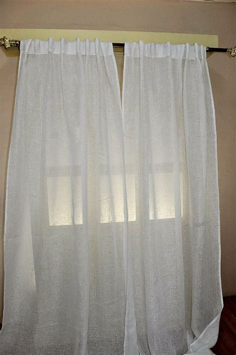 white sheer  linen curtains   tabs sold