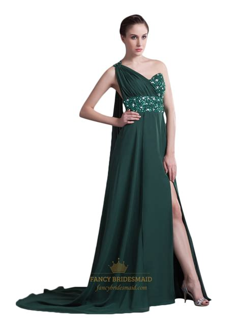 what color prom dress should i get green chiffon one shoulder prom dresses with slits