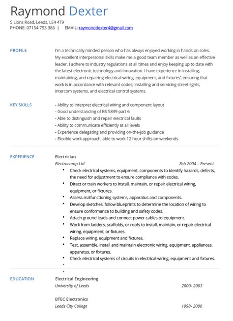 Electricians Resume by Electrician Resume Exle Hashtag Cv