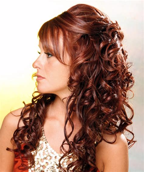 long curly formal half up hairstyle mahogany red hair color