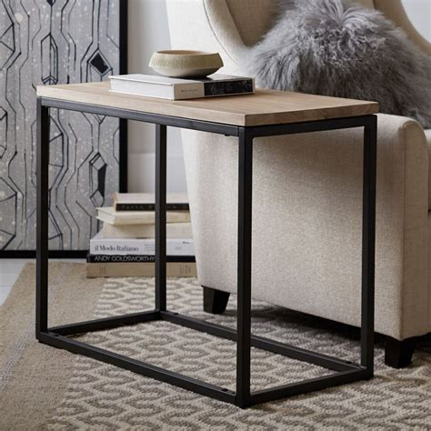 whitewashed coffee and end tables box frame narrow side table whitewashed mango