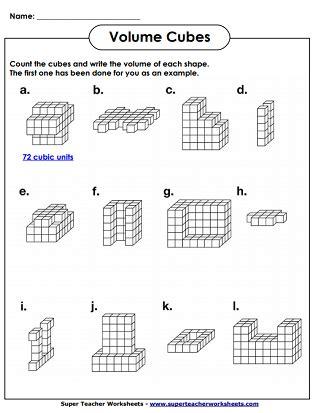 Volume Cubes Worksheets