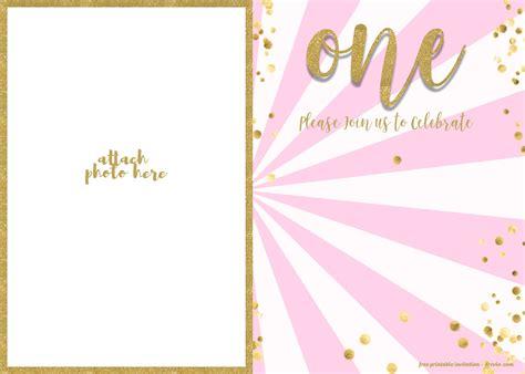 st birthday invitation pink  gold glitter