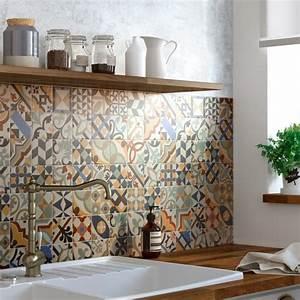une credence authentique avec la mosaique imitation With carrelage adhesif salle de bain avec lampe a poser led