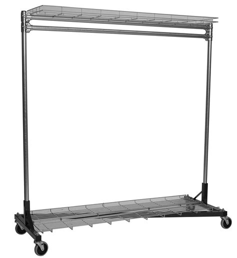 Rolling Clothes Rack  3 Ft With Shelves In Clothing
