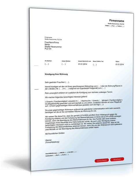 kündigungsschreiben mietvertrag vermieter k 252 ndigung mietvertrag eigenbedarf muster zum