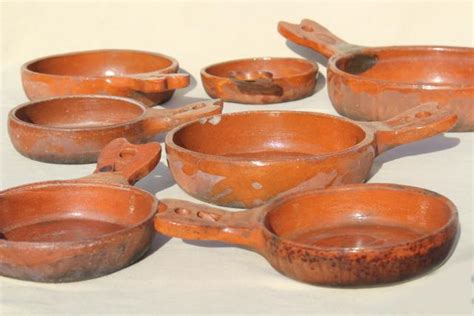 vintage mexican pottery pots rustic terracotta clay pans  nesting sizes