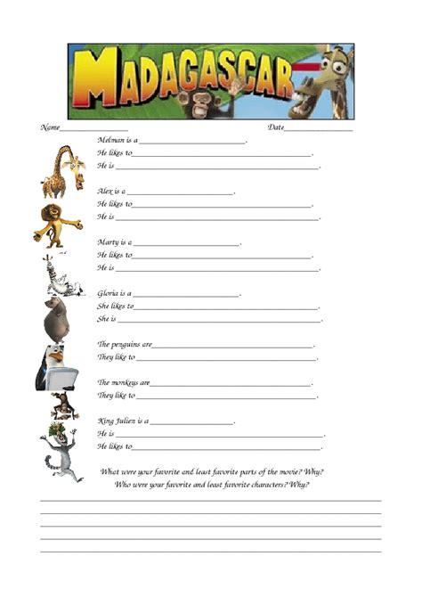 Movie Worksheet Madagascar