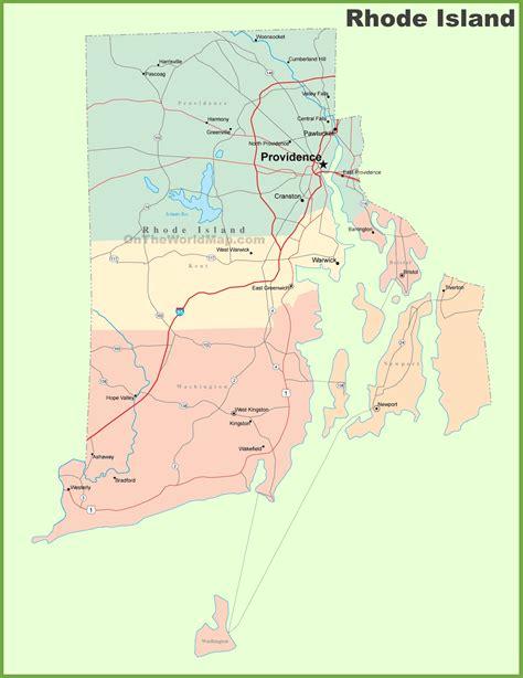 road map  rhode island  cities
