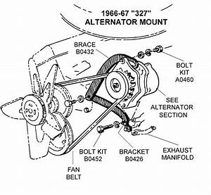 1966-67 327 Alternator Mount - Diagram View