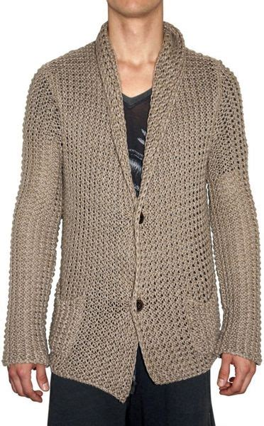 mens chunky knit sweater laneus chunky knit cardigan sweater in beige for lyst