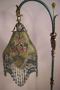 Beautiful silk lampshade with glass bead fringe for Antique floor lamp with fringed shade