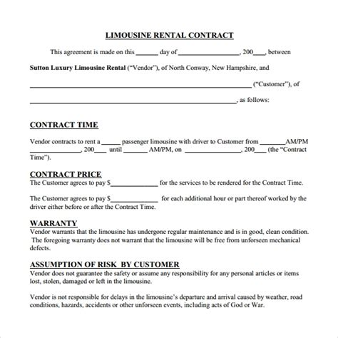 sample rental contract template   documents