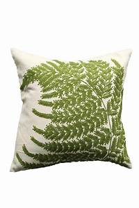 Creative Co-Op Embroidered Fern Pillow from Washington by