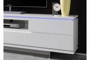 Meuble Tv Pied Metal : meuble tv design blanc laqu mat et pied m tal cbc meubles ~ Teatrodelosmanantiales.com Idées de Décoration