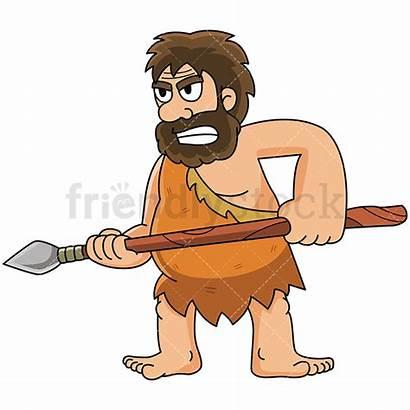 Caveman Spear Guard Cartoon Clipart Fire Holding