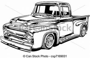 56 vintage custom pickup black line illustration With 1949 chevy step van