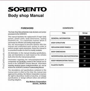 Kia Sorento 2002  U2013 2008 Body Shop Manual  U2013 Pdf Download