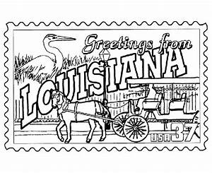 #Louisiana State Stamp Coloring Page | School | Pinterest