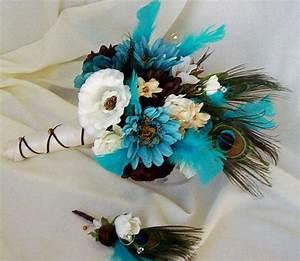 Wedding theme teal tourquoise wedding bouquet ideas for Teal wedding theme ideas