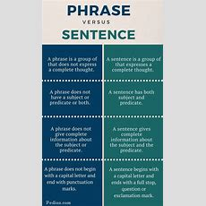 Difference Between Phrase And Sentence Pediaacom