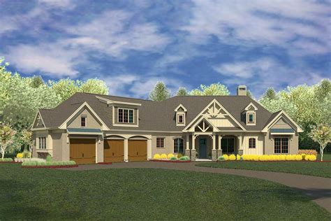 country craftsman house plan   degree angled garage dk architectural designs