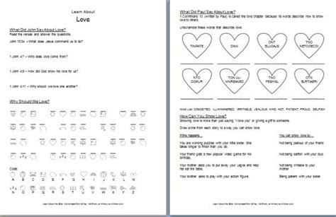 """""""learn About Love"""" Bible Worksheets — Ministrytochildrencom"""