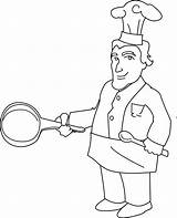 Chef Coloring Clip Line Sweetclipart sketch template