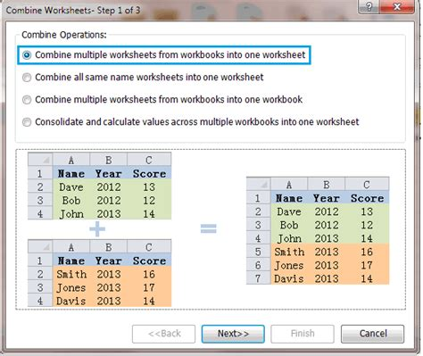 quickly combine worksheets ranges from