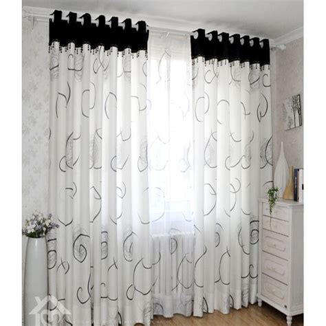 modern white black cool patterned ready made curtains