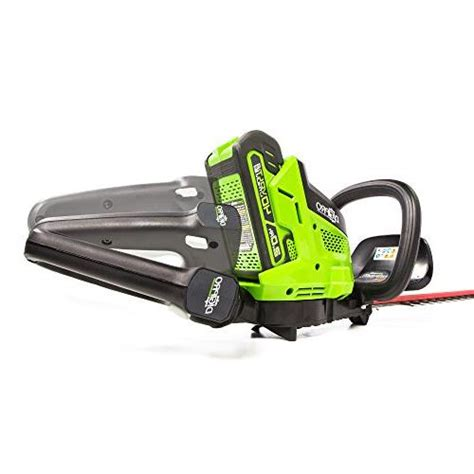 greenworks ht40l00 brushless cordless hedge trimmer 24 quot battery