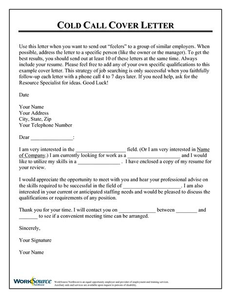 cold call resume cover letter cold call cover letter
