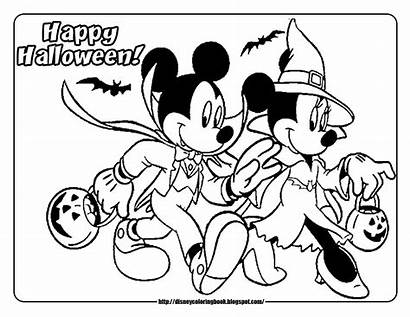 Halloween Mickey Minnie Coloring Pages Mouse Disney