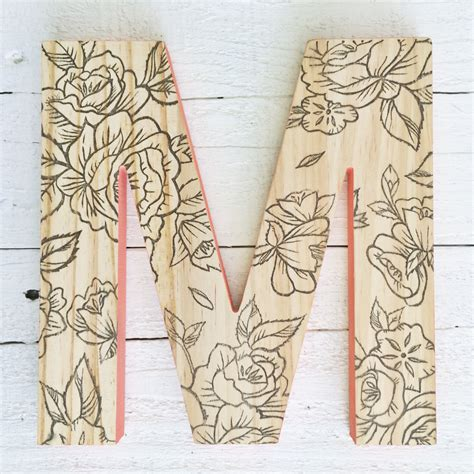 decorative letters for wall decorative wall letter hanging wooden letters floral print