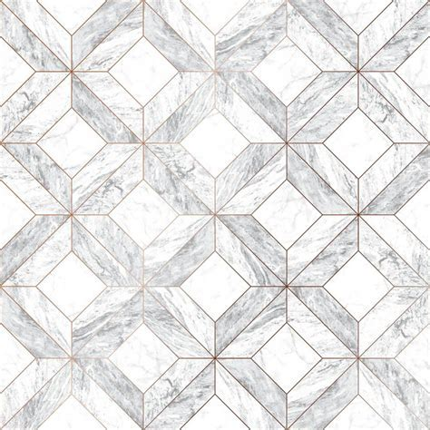 Graham & Brown Marble Marquetry White, Gray and Rose Gold