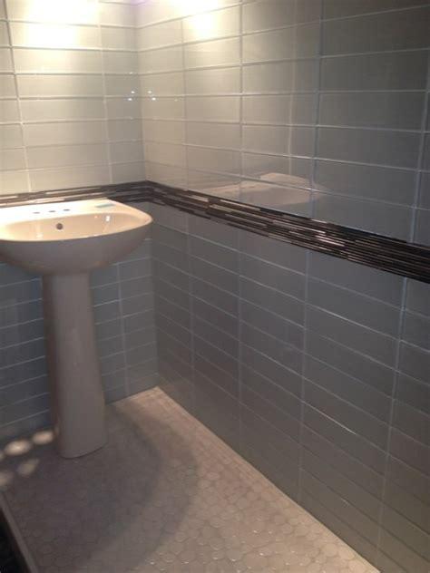 bathroom tiles mosaic border arvex silkscreen glass tile with metal mosaic border and 16883