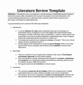 Sample literature review template 6 documents in pdf word for Lit review template