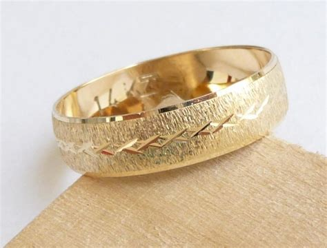 Gold Wedding Band Men Women Wedding Ring With Deep