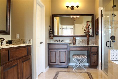 Master bathroom cabinets with chair space and alder cabinets