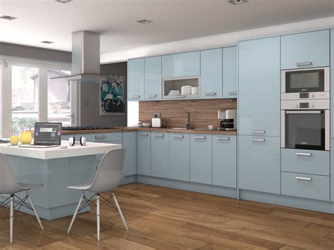 blue gloss kitchen cabinets feature doors specifications cornice pelmet recommended 4811