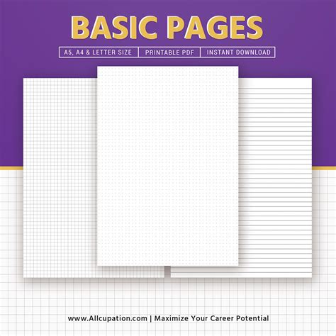 basic pages inserts  dot grid square grid lined