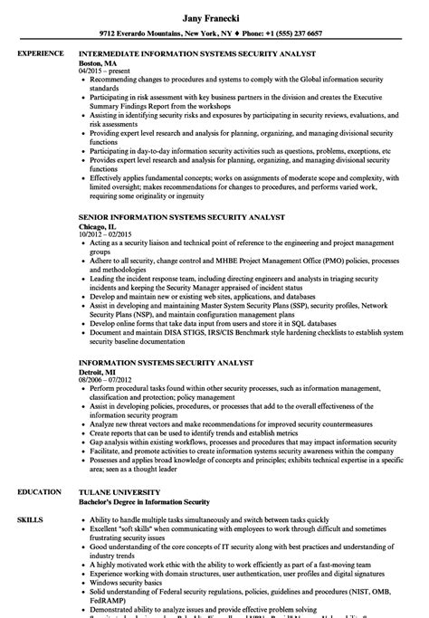 information systems security analyst resume sles