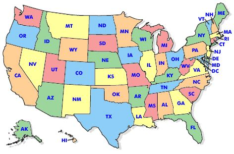 state abbreviation map  travel information