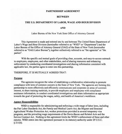 partnership agreement templates sample templates