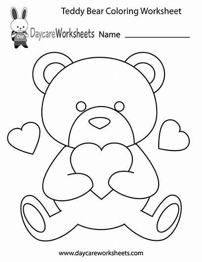 Preschool Coloring Worksheet Bear Teddy Colouring Printable