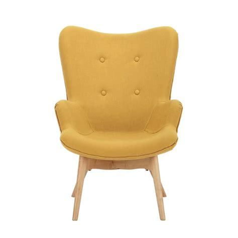 fauteuil vintage enfant en bois et tissu jaune iceberg
